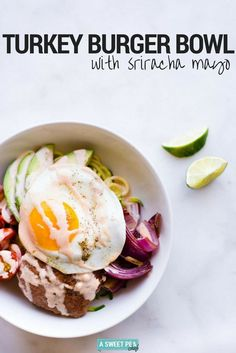 Try this delicious low carb turkey burger bowl that is full of lean protein and lots of other yummy goodness. Healthy Foods To Eat, Healthy Dinner Recipes, Low Carb Recipes, Appetizer Recipes, Healthy Snacks, Vegetarian Recipes, Vegetarian Barbecue, Barbecue Recipes, Vegetarian Cooking