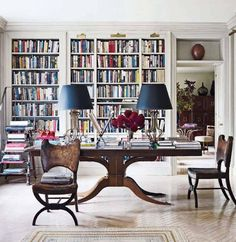 Library styling with a pair of matching lamps