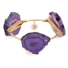 Bourbon and Boweties Stone Bracelet ($38) ❤ liked on Polyvore featuring jewelry, bracelets, purple, purple stone jewelry, studded jewelry, stone jewellery, stone jewelry and purple jewelry