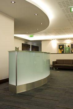 reception desk ideas | Trucurve Reception Desks | Colored Glass Dublin | Glass Designs| Glass ...