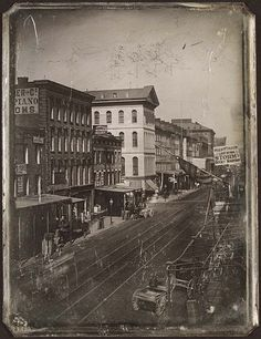Fourth Street looking North, 1867  to intersection with Locust Street. Daguerreotype by Thomas M. Easterly, 1867. Missouri History Museum Photographs and Prints Collections. Thomas Easterly Collection. N17009.