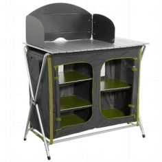 Camping furniture - Folding Camping Cupboard with wind screen for stove, Green/Grey QUECHUA