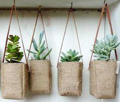 hanging burlap succulents