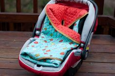 Really need to learn how to sew so I can make this car seat blanket for Kennedy and Rylee!