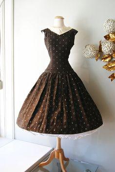 50s Dress // Vintage 1950's Drop Waist Polka Dot Day Dress on Etsy, $175.00