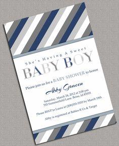 Printable Baby Shower Invitations Boys, Grey, Navy, white - 875. $13.50, via Etsy.