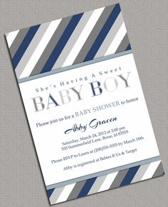 Printable Baby Shower Invitations Boys, Grey, Navy, white - 875. $13.50, via Etsy.