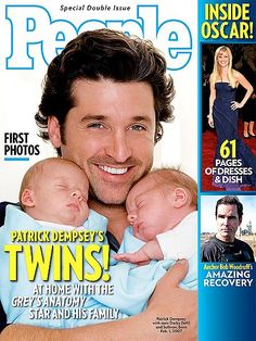 Sullivan Patrick and Darby Galen Dempsey: Patrick Dempsey showed off his twins on the cover of People.