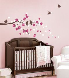 Cherry Blossom Branch w/ Birds-simple shapes, vinyl wall decor, vinyl, nursery decor, wall accent, trendy, baby boutique, cherry blossom, pink, flowers