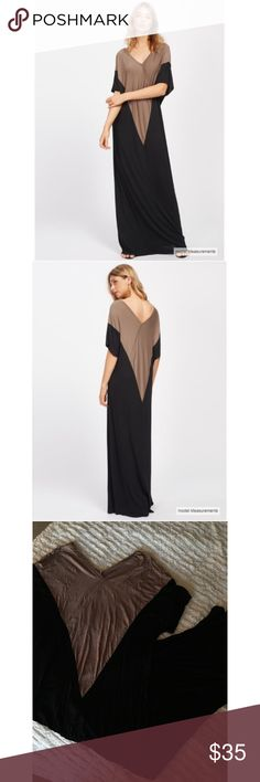 Color Block V-Neck Maxi Dress Amazingly comfy maxi dress with a v-neck. This is perfect to wear just about anywhere!!! Actually I'm wearing mine as I type this now at work 😋💕  Measurements- 1. Bust: 45.5-50in 2. Length: 56in 3. Sleeve Length: 13.5in Dresses Maxi