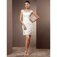 [XmasSale]Wedding Dress Sheath Column Short Mini Lace Scoop Little White Dress With Pearl Detailing and Beading  - USD $ 99.99