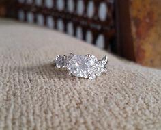 Diamond White Sapphire Engagement Ring Gold Flower by PenelliBelle