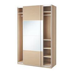 Pax wardrobe with sliding doors white stained oak effect for Chene blanchi ikea