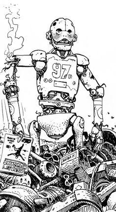 Métal Hurlant cover (1977) by Moebius - Toujours ce numéro 17 qui rampe dans les dessins d'androïdes !