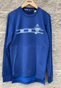 Adidas St Louis Blues Mens Navy Blue Reflective Line Long Sleeve Sweatshirt - 14858562 St Louis Blues, Blue Adidas, Adidas Men, Temporary Store, Double Knitting, Great Books, Adidas Logo, Team Logo, Stylish