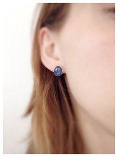 Small Kyanite Earrings- Blue Stone Sterling Silver Stud Earrings- Blue Post Earrings- Kyanite Earrings- Round Blue Earring Studs- Oval Posts...