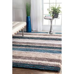 Nuloom Havenside Home Siesta Handmade Striped Plush Multi Shag Rug x (Multi), Blue, Size x (Polyester, Nautical) Area Rug Sizes, Blue Area Rugs, Coastal Bedrooms, Striped Rug, Rugs Usa, Hand Tufted Rugs, Grey Rugs, Blue Shag Rug, Home Decor Outlet