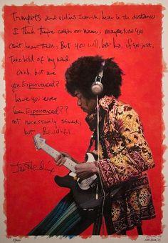 Jimi Hendrix, Are You Experienced? Eddie Kramer photograph, colored and overlaid with Jimi's handwritten lyrics by Eddie and AJ Newton Jimi Hendrix Experience, Easy Guitar, Guitar Tips, Guitar Lessons, Jimi Hendricks, Hey Joe, Learn To Play Guitar, Chris Cornell, Music Icon