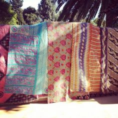 Shop Recycled Sari Cotton fabric made Bohemian handmade kantha quilts and vintage kantha Throws, Indian blankets into queen and twin sizes at affordable price. Textiles, Textile Patterns, Print Patterns, Ethnic Patterns, Doodle Patterns, Kitsch, Best Sheets, Beach Blanket, Kantha Quilt
