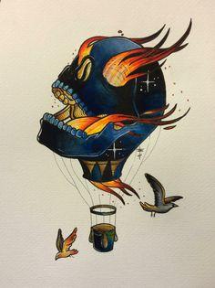 Skull Baloon Air Balloon Tattoo, Air Tattoo, Traditional Tattoo Design, Traditional Tattoo Flash, Tattoo Sketches, Tattoo Drawings, Funky Tattoos, Sailor Jerry Tattoo Flash, Americana Tattoo