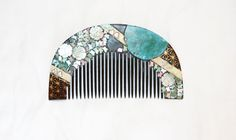 1800's Japanese Hair Comb Laquer Mother of Pearl Ornament Black Silver Green Leaves Vintage Antique Bridal Headdress Jewelry Hair Pins. $120.00, via Etsy.