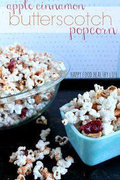 Healthier Apple Cinnamon Butterscotch Popcorn by Happy Food Healthy Life Flavored Popcorn, Popcorn Recipes, Snack Recipes, Homemade Popcorn, Sweets Recipes, Fall Recipes, Yummy Snacks, Healthy Snacks, Yummy Food