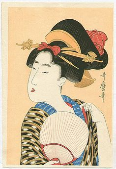 Utamaro Kitagawa Japanese Ukiyo-e Prints Ladies with Fan...my parents have this artist all over our house