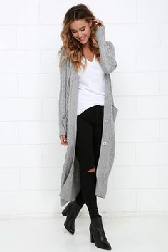 You've waited long enough! Today is the day you make the At Great Length Grey Long Cardigan Sweater yours forever! Perfectly soft cable knit has a thick and cozy construction that forms a ribbed V-neckline secured with a midi-length placket of large grey buttons. Long fitted sleeves are finished with ribbed cuffs, while two front patch pockets offer the perfect place to keep your hands warm.