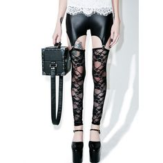Lace Lust Garter Leggings ($18) ❤ liked on Polyvore featuring pants, leggings, floral lace leggings, sheer leggings, floral print leggings, transparent leggings and lace leggings