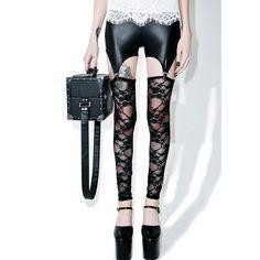Lace Lust Garter Leggings ($25) ❤ liked on Polyvore featuring pants, leggings, lace pants, stretch leggings, white leggings, white stretch pants and floral leggings