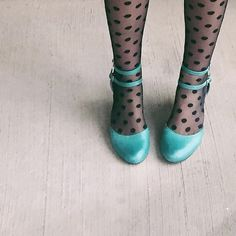 Teal shoes with polka dot tights