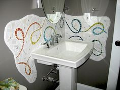 Bathroom backsplash....it's really cool....don't know if I want it in MY house...but do like it!