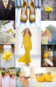 spring summer wedding color palettes lemon yellow and Summer, Styles, Causal Wedding Dress, Yellow Wedding Dress, Summer Wedding Colors, Country Wedding Dresses, Autumn Wedding, Pale Yellow Weddings, Gray Weddings, Wedding Planning Inspiration, Inspiration Boards