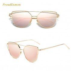 2018 Cat Eye vintage Brand designer rose gold mirror Sunglasses For Women  Metal Reflective flat lens Sun Glasses Female oculos d4f3061428