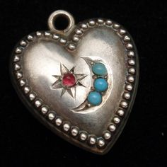 Puffy Heart Charm Vintage Sterling Silver Beaded Edge Star & Crescent
