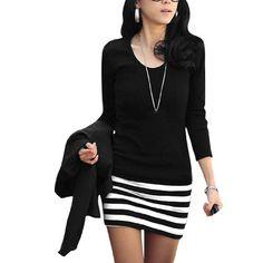 Allegra K Ladies Scoop Neck Long Sleeve Textured Stripes Over Hip Mini Dress $11.49