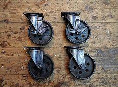 "Set of 4 vintage finish industrial cast iron wheel 5"" castors"