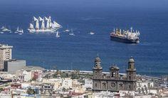 Las Palmas de Gran Canaria Cathedral and School Ship Juan Sebastián Elcano.  Pic by Ayo Cabrera