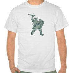 Viking Warrior Striking Sword Etching Tshirts. Etching engraving handmade style illustration of a viking warrior raider barbarian with shield and sword striking set on isolated white background. #Etching #VikingWarriorStrikingSword