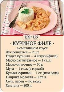 Карточка рецепта Куриное филе в сметанном соусе