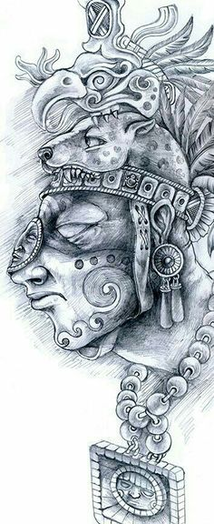 Discover recipes, home ideas, style inspiration and other ideas to try. Kunst Tattoos, Body Art Tattoos, Sleeve Tattoos, Dessin Aztec, Mayan Tattoos, Inca Tattoo, Peru Tattoo, Indian Tattoos, Lettrage Chicano