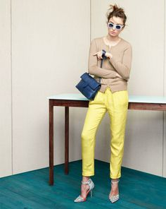 J.Crew Collection cashmere zip cardigan and linen beach pant.  - May 2014