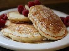 """""""Biggest Loser"""" Oatmeal Pancakes...we tried it for Sunday breakfast and all the kids ate it. It's pretty flat and moist but with lots of apple sauce it was really good."""