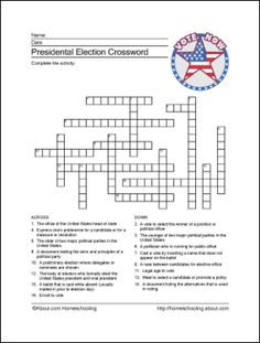 Learn about the election process with these free Presidential Election printables. The set includes a word search, crossword, coloring page and more. Social Studies Notebook, Social Studies Worksheets, Teaching Social Studies, Election Night Party, Election Day, History Education, Teaching History, Electorial College, Presidental Election