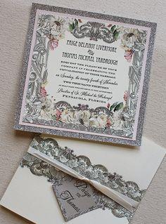 #artdeco #handpainted #weddinginvitations