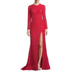 Jovani Long-Sleeve Slit Lace Evening Gown (4.350 DKK) ❤ liked on Polyvore featuring dresses, gowns, red dress, long sleeve gowns, long sleeve lace evening gown, lace gown and long sleeve ball gowns