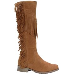 Nature Breeze Tan Riley Boot ($18) ❤ liked on Polyvore featuring shoes, boots, knee-high boots, knee high boots, short heel boots, fringe boots, low heel boots and synthetic boots