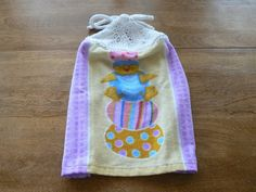 Chick and Easter Eggs Hanging DishTowel With Hand Knit Topper and Ties | hollyknittercreations - Housewares on ArtFire