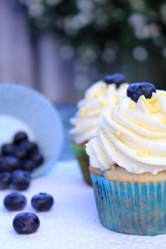 Lemon curd filled blueberry cupcakes with lemon mascarpone frosting. As soon as blueberry season arrives, these little lovelies will be on my table.