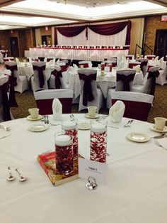 Our sashes coordinate with the beautiful head table backdrops